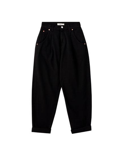 Jeans slouchy básicos pinzas
