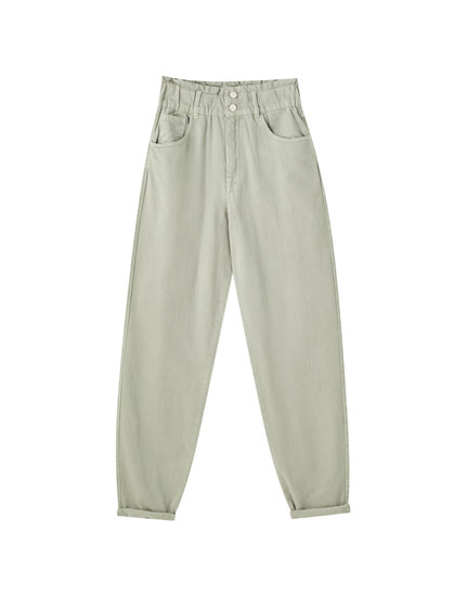 Gaucho jeans with elasticated high waistband