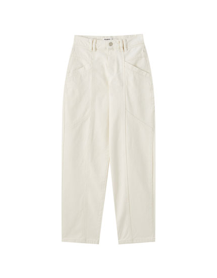 Jeans slouchy blancos