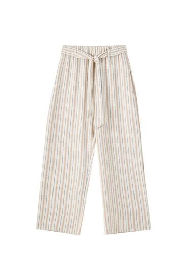 Pantalons culotte ratlles estil rústic