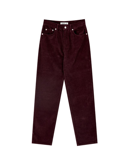Corduroy mom fit trousers