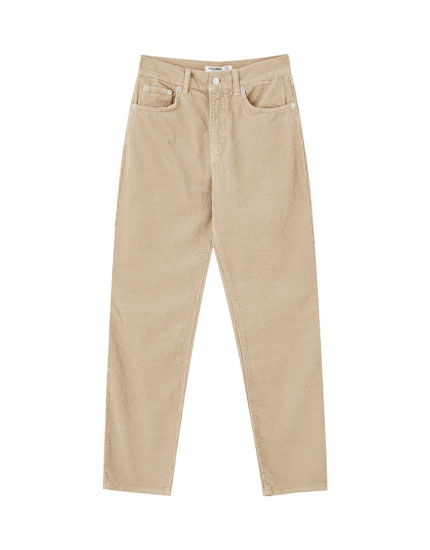 Pantalon mom fit velours côtelé