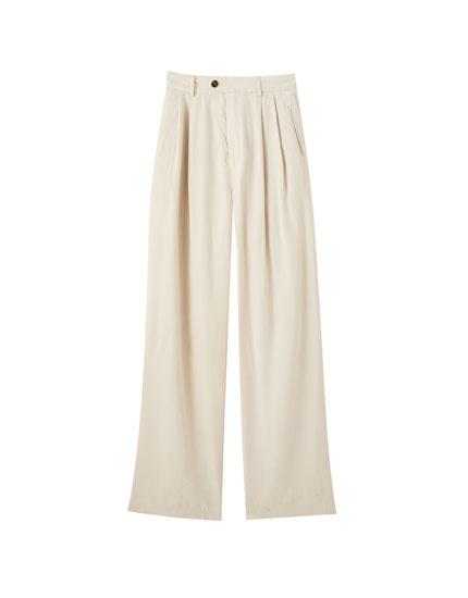 Pantalón fluido beige viscosa