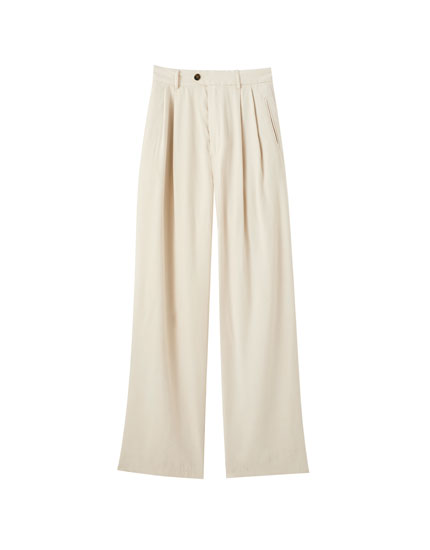 Beige loose-fitting viscose trousers