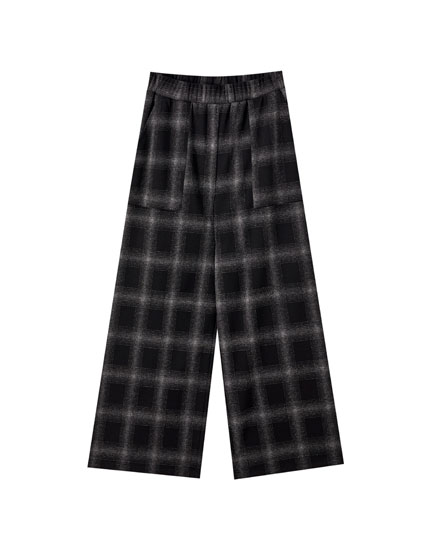 Wide-leg check print trousers