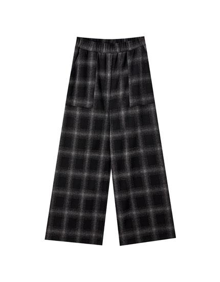 Pantalón wide leg estampado cuadros