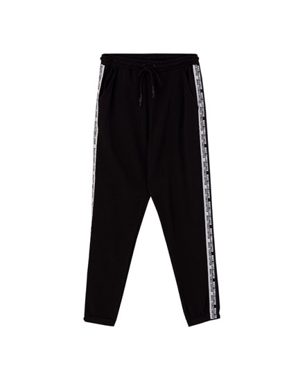 Pantalon jogger bande inscription contrastante