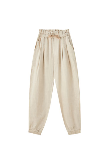 Rustic linen jogging trousers