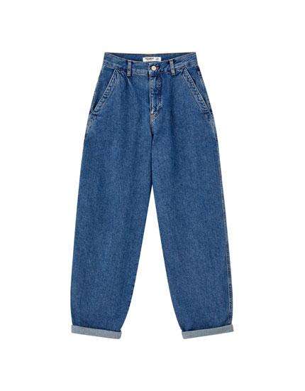 Τζιν παντελόνι slouchy basic σε μπλε χρώμα
