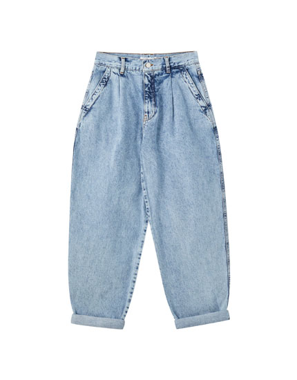 Jeans slouchy basique bleu