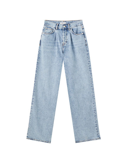 Darted straight-leg jeans