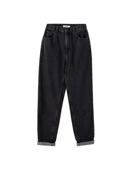 Jeans mom fit coton taille élastique
