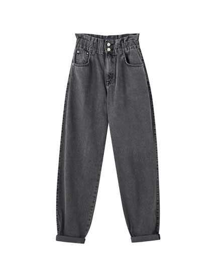 Double-button elasticated gaucho jeans