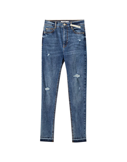 Skinny broek met hoge taille