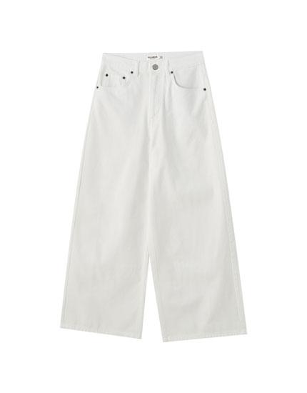 Jeans culotte blancos