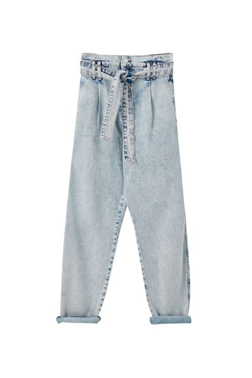 Slouchy faded paperbag jeans