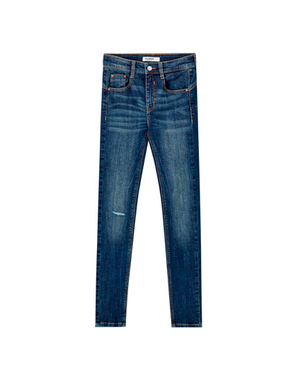 Middenblauwe push-up jeans