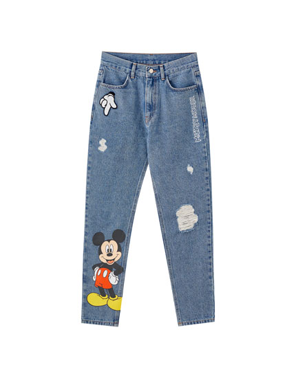 Mom fit jeans Mickey Mouse