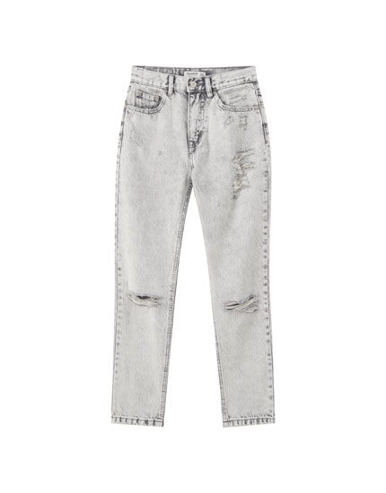 Jeans mom fit déchirures jambe
