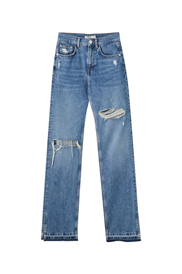 High-waist jeans with slit detail