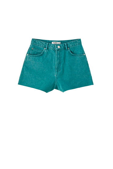 Denim shorts with frayed hems