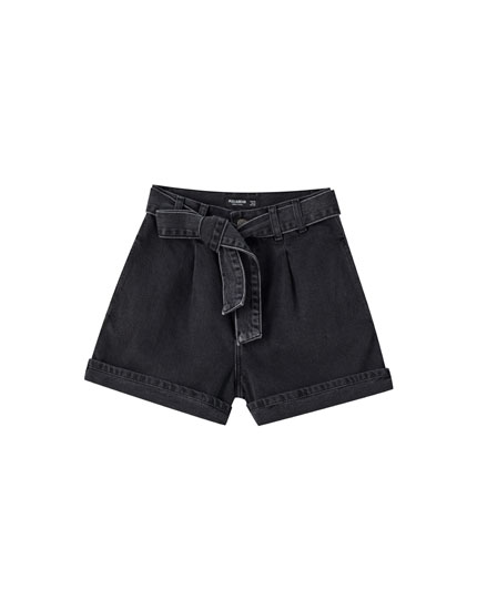 Paperbag denim Bermuda shorts with belt