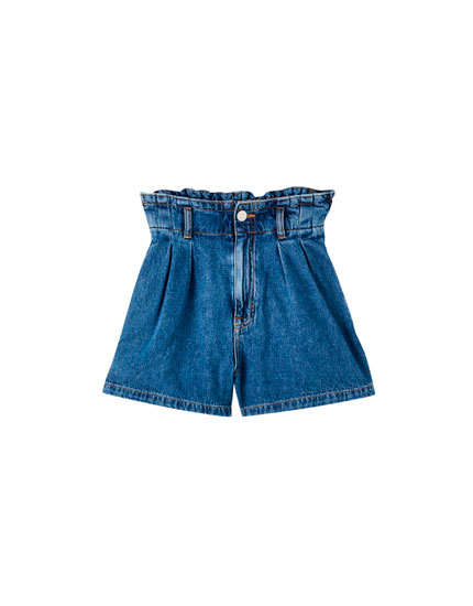 Blue denim paperbag Bermuda shorts