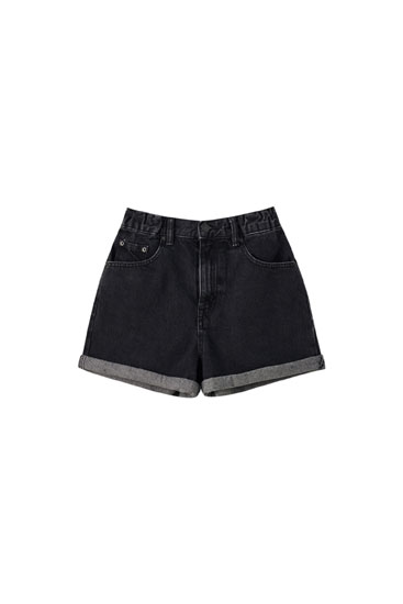 Mom fit shorts with elastic waist