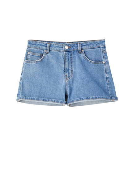 Mid-waist ripped denim shorts