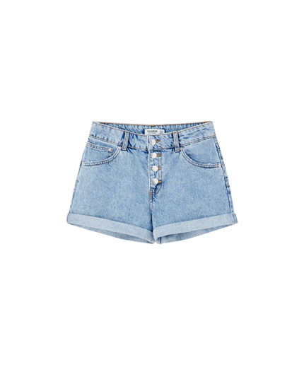 Denim shorts with front buttons