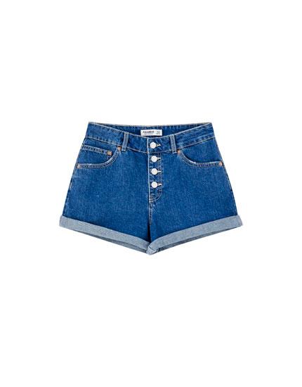 Short jean boutons devant