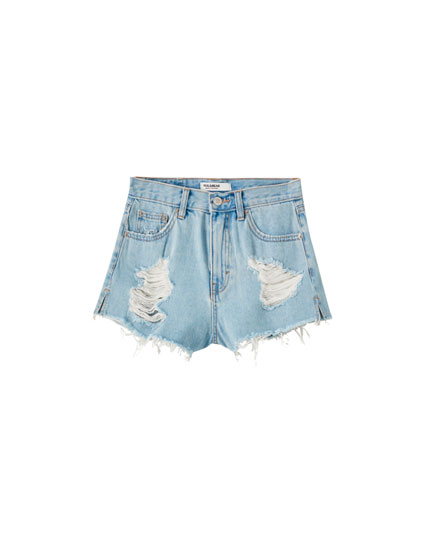 Mom shorts with wide rips
