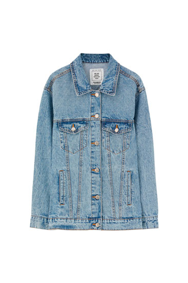 Oversized denim jacket with buttons