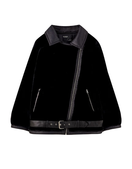Black jacket with contrasting fabrics