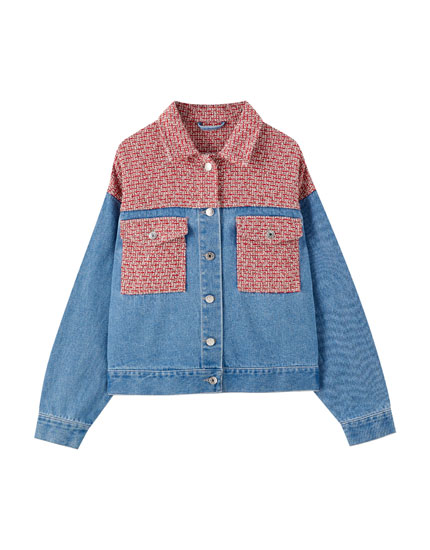 Contrast tweed denim jacket