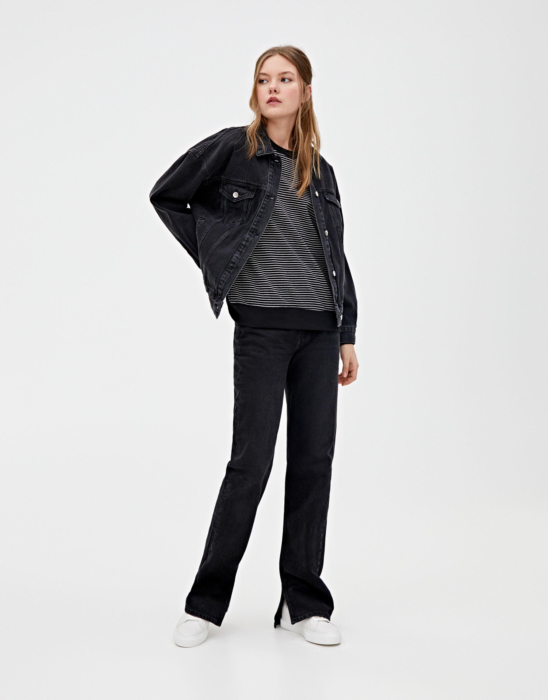 Черная джинсовая куртка с принтом «Минни Маус» ЧЕРНЫЙ Pull & Bear