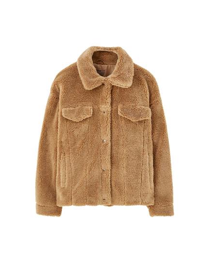 Faux shearling trucker jacket