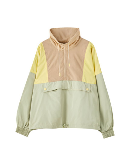 Colour block nylon jacket