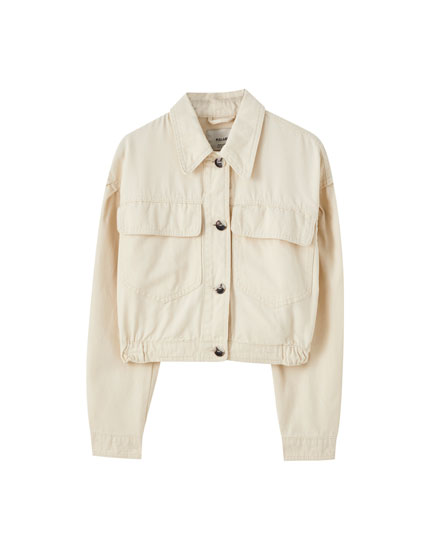 Cropped jacket with elastic hem
