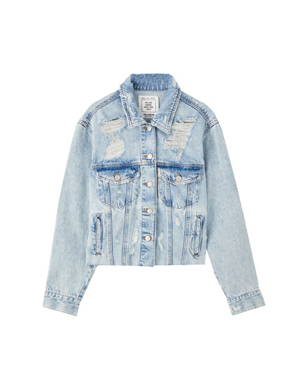 Denim jacket with frayed hem