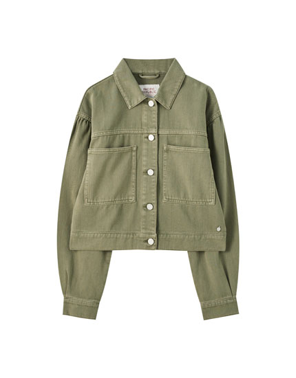 Khaki jacket with pleated sleeves