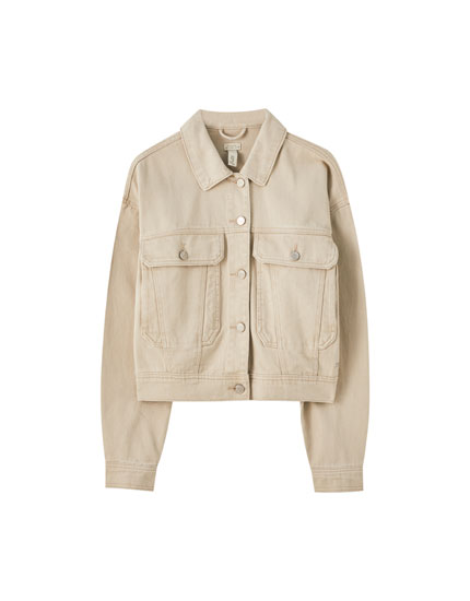 Beige jacket with front seam detail