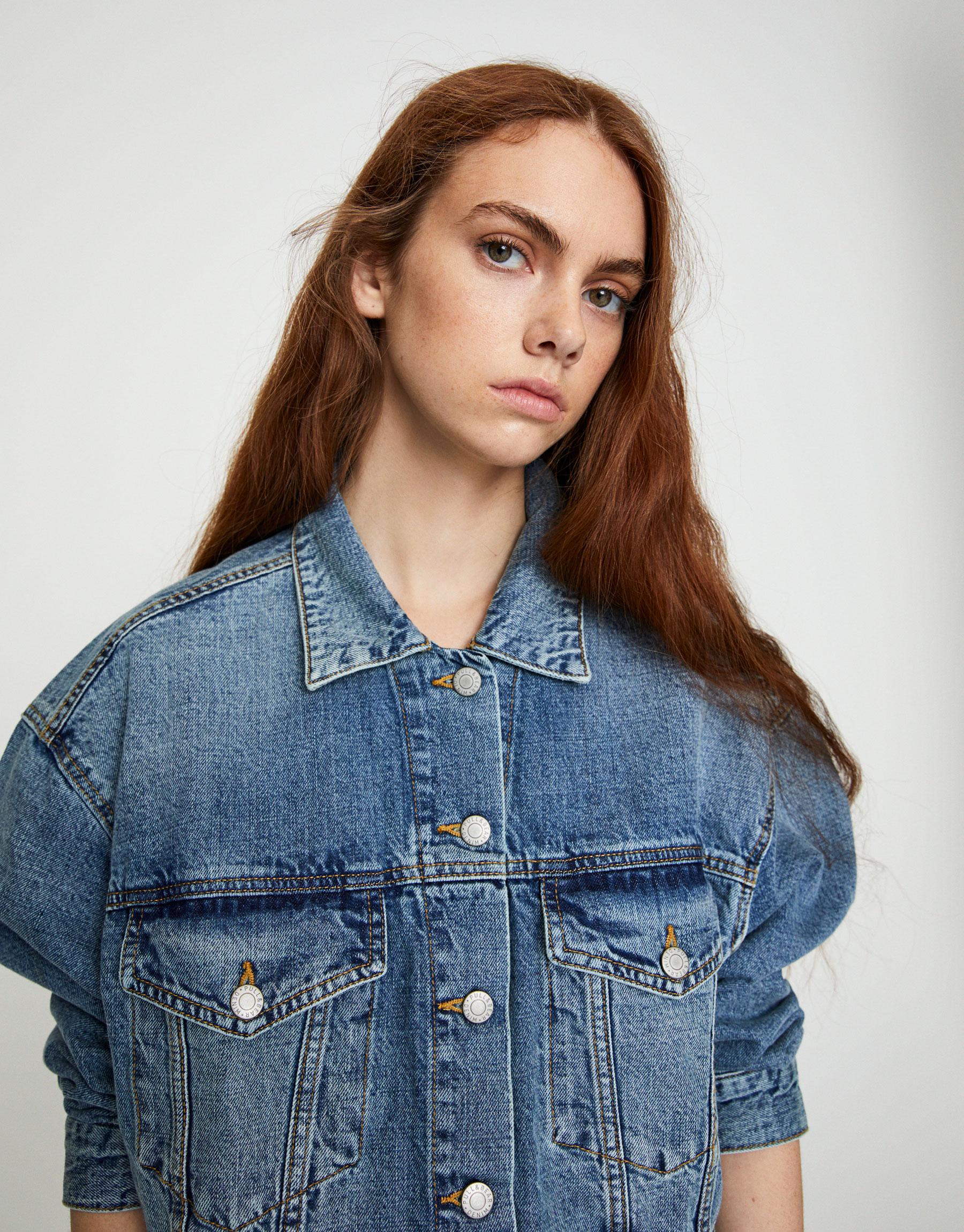 Укороченная джинсовая куртка оверсайз СИНИЙ Pull & Bear