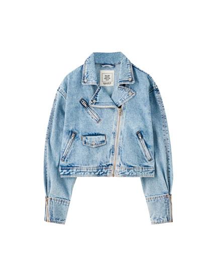 Biker-style denim jacket