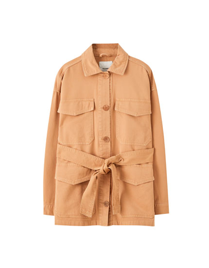 Sand-coloured worker jacket with belt