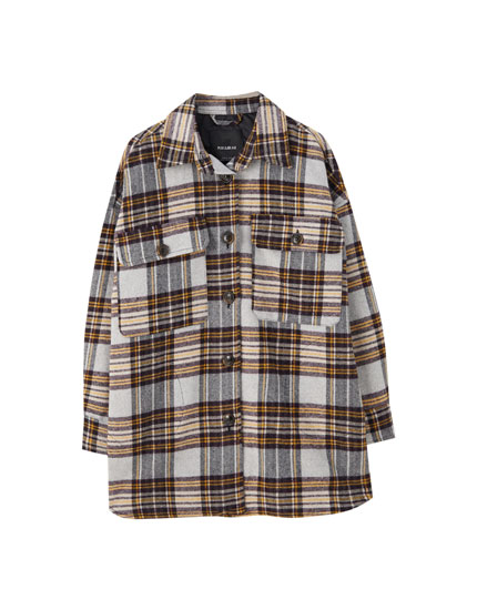 Check print overshirt with pockets
