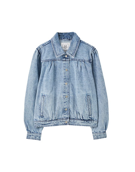 Denim jacket with pleated detailing