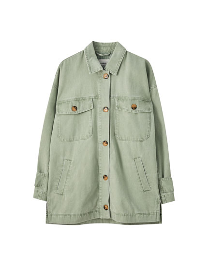 Long overshirt with flap pockets