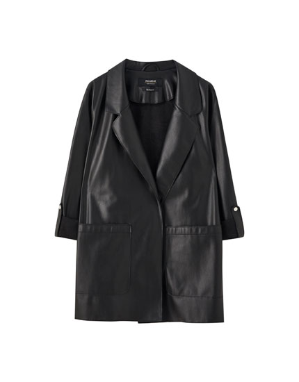 Black faux leather coat