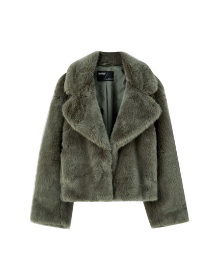 Faux fur jacket with lapel collar